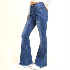 High Waist Flare Frayed Hem Jeans NWT